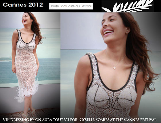 dressed by on aura tout vu   Gyselle Soares at the Cannes festival 2012