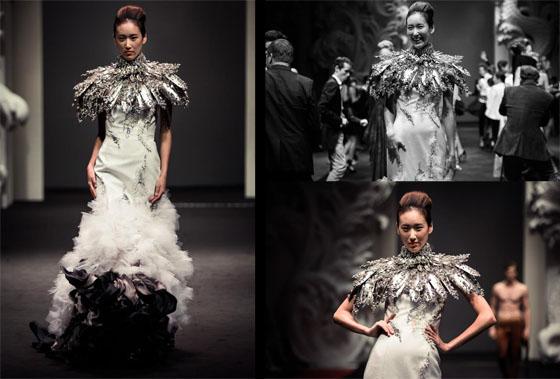 on aura tout vu wedding dress at singapore fashion week 2012