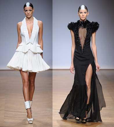 Collection Couture spring summer 2014 ON AURA TOUT VU Paris Robe du soir Black and Wite