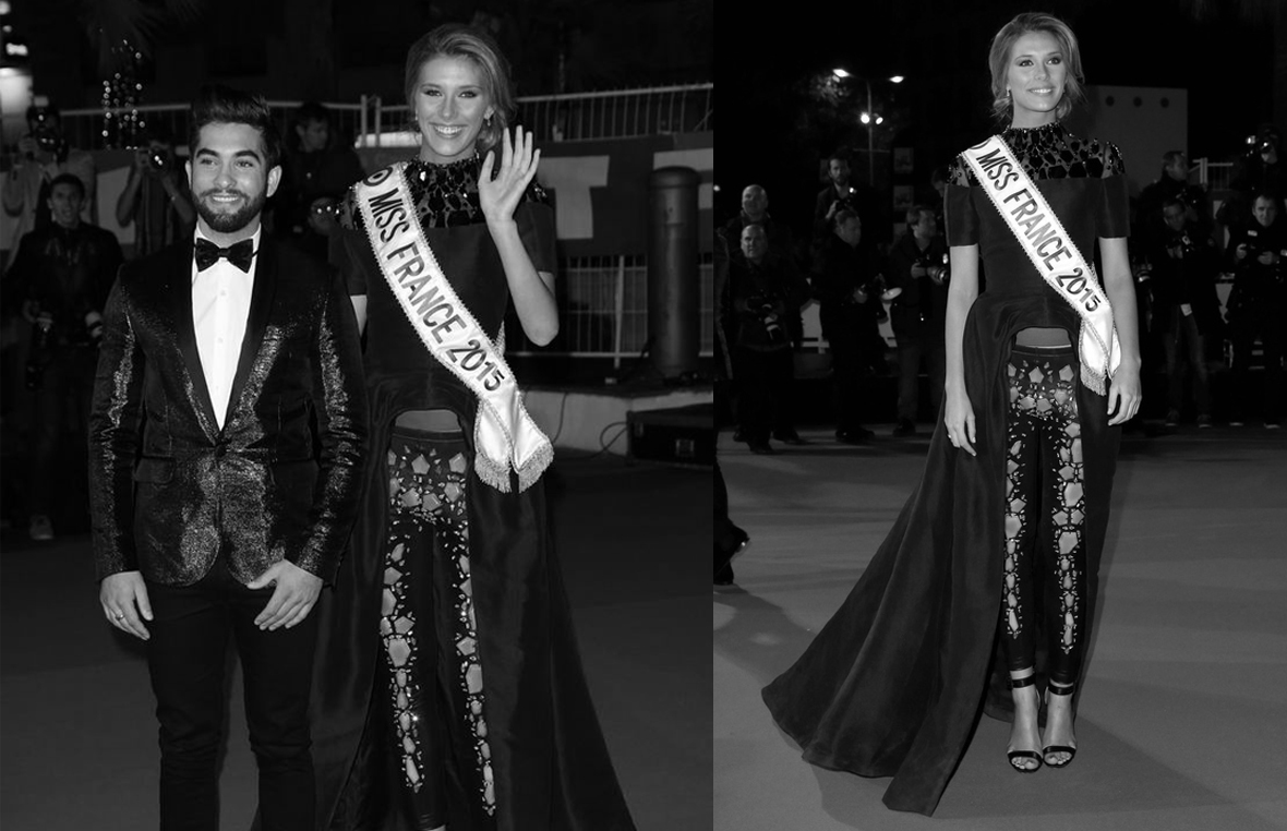 Camille Cerf Miss France 2015wearing haute couture black dress by on aura tout vu NRJ Music Awards Cannes