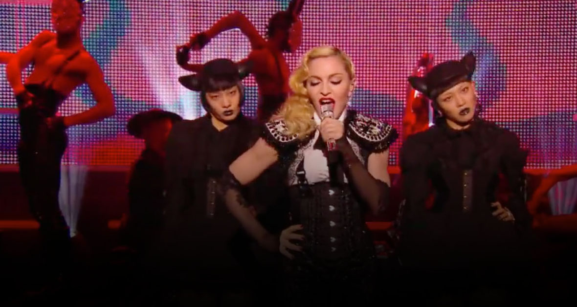 madonna wearing on aura tout vu couture bolero black white
