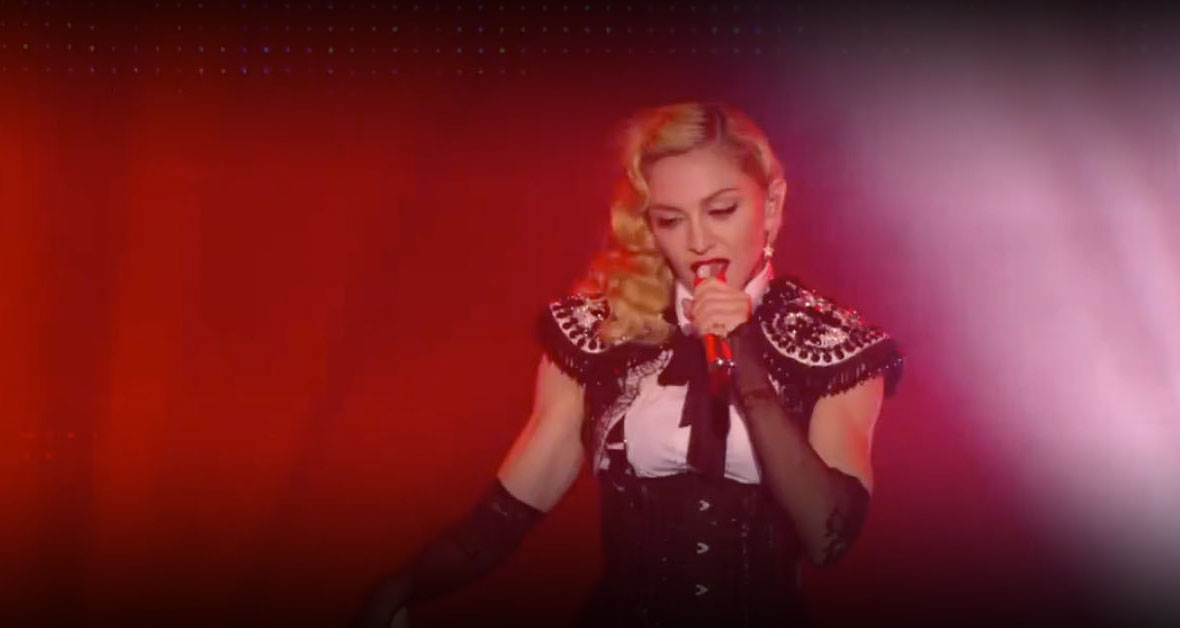 madonna wearing on aura tout vu couture bolero performing canal le grand journal black white