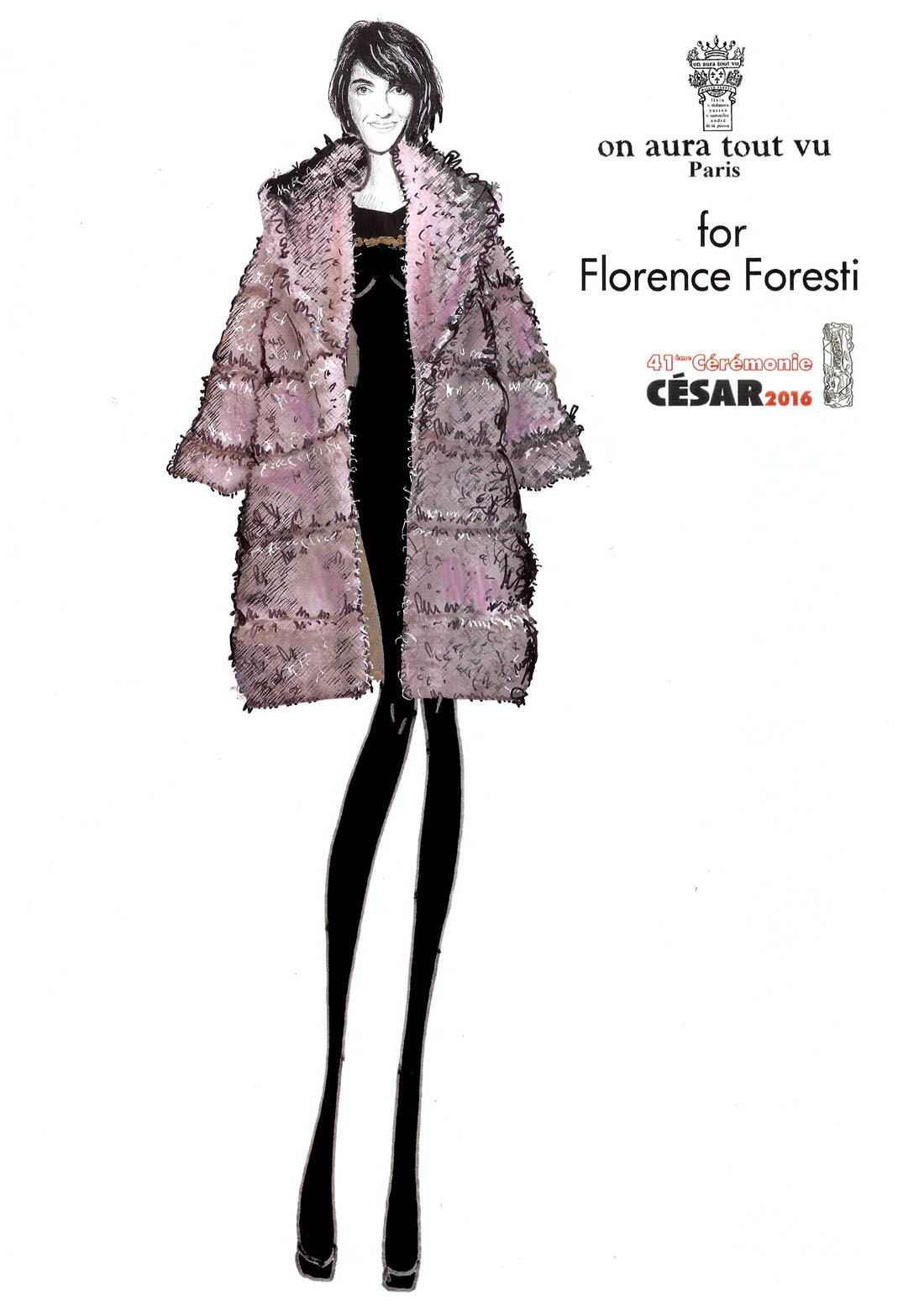 Florence Foresti on aura tout vu couture coat cesar2016